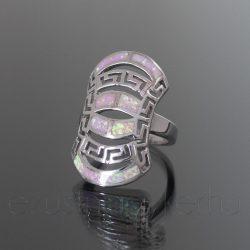 Opál gyűrű áttört mintás rózsaszín