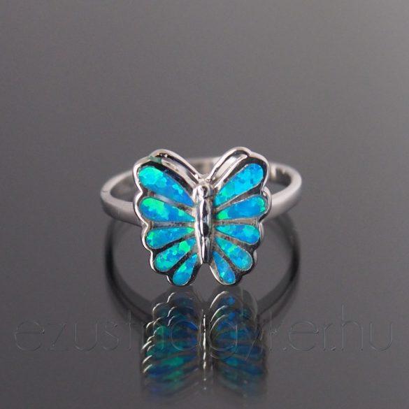 Opál gyűrű pillangó kék