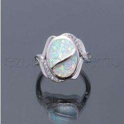 Opál+cirkónia gyűrű hullám fehér