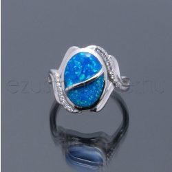 Opál+cirkónia gyűrű hullám kék