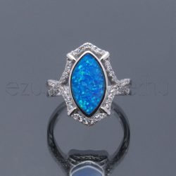 Opál+cirkónia gyűrű kék