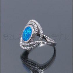 Opál+2sor cirkónia gyűrű