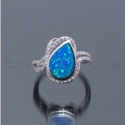 Opál+cirkónia ezüst gyűrű csepp kék