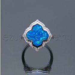 Opál ezüst gyűrű 4levelű