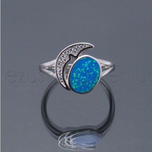 Opál ezüst gyűrű hold