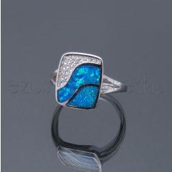 Opál ezüst gyűrű szögletes kék