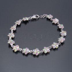 Opál köves karlánc virág - rózsaszín