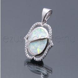 Opál+cirkónia  medál hullám fehér