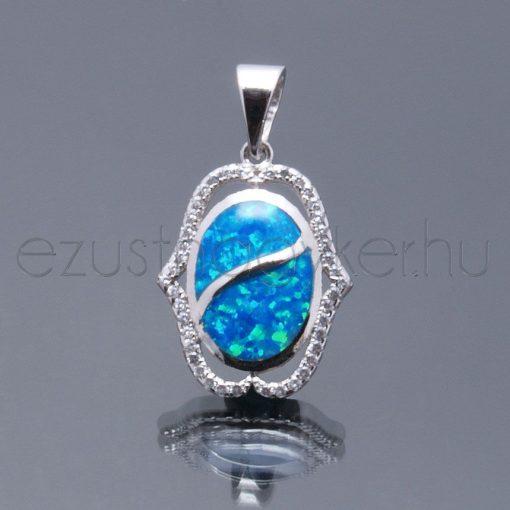 Opál+cirkónia  medál hullám kék