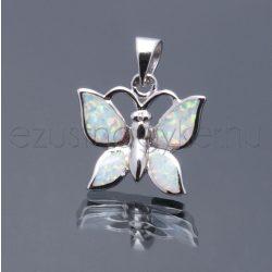 Opál medál pillangó2 fehér