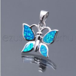 Opál medál pillangó2 kék