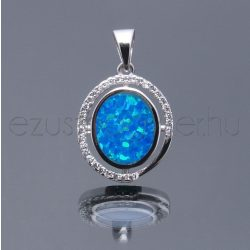 Opál+cirkónia medál ovál kék