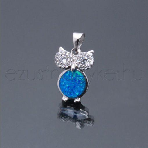 Opál medál bagoly kék