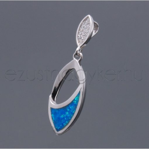 Opál medál navett+cirkónia kék