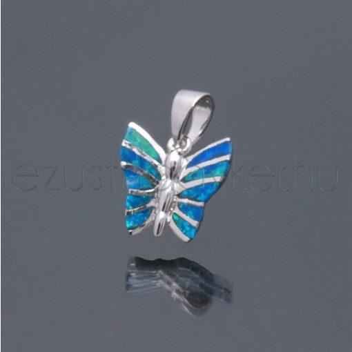 Opál ezüst medál kis pillangó kék