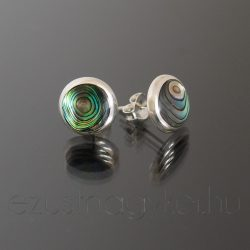 Bedugós paua ezüst fülbevaló 10 mm-es