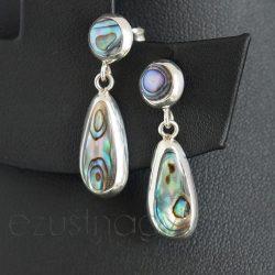 Paua ezüst fülbevaló bedugós, két részes csepp 2