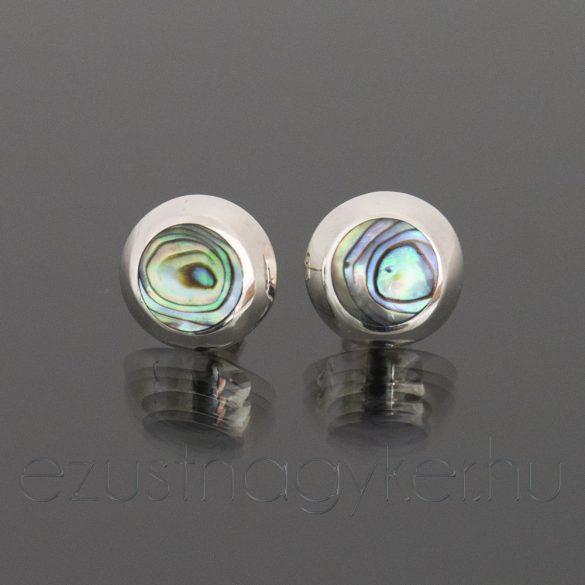 Bedugós paua ezüst fülbevaló 12 mm-es
