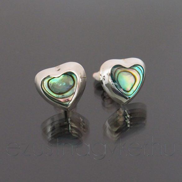 Bedugós paua ezüst fülbevaló szív