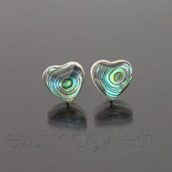 Paua szív ezüst fülbevaló