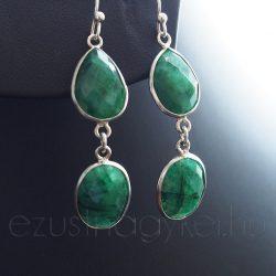 Smaragd köves ezüst fülbevaló csepp-ovál