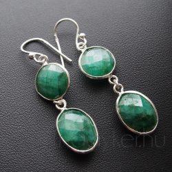 Smaragd köves ezüst fülbevaló kör-ovál