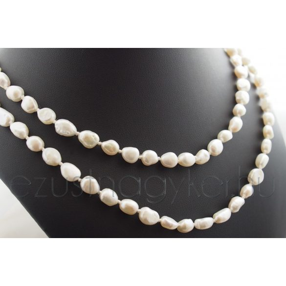 Hosszú tenyésztett  gyöngysor fehér