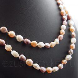 Hosszú tenyésztett  gyöngysor három színű
