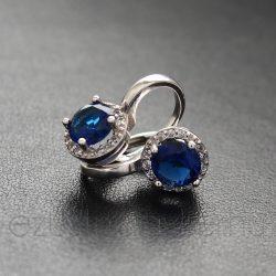 Ezüst füli kerek kék köves