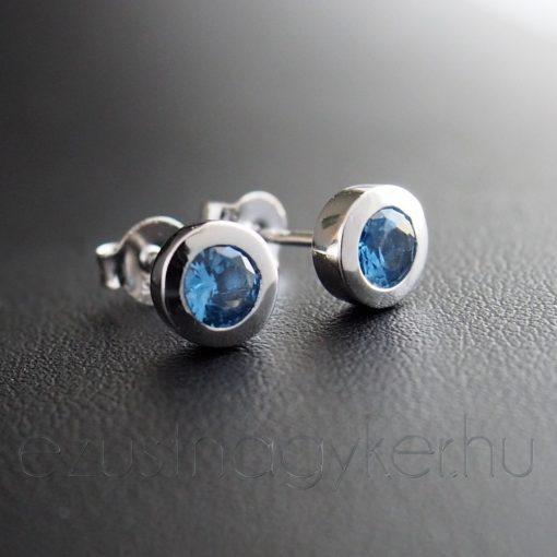 Kerek cirkónia fülbevaló, kék, 7 mm