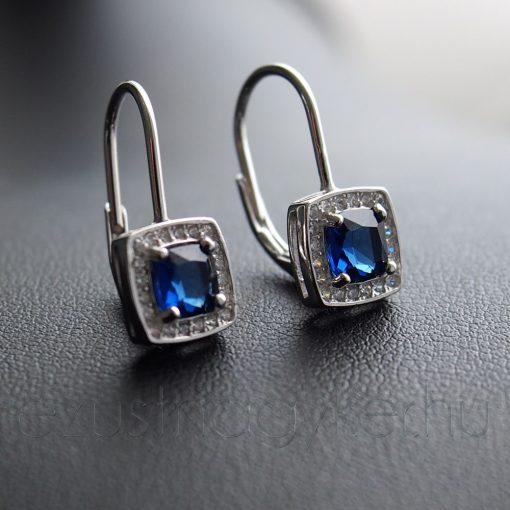 Kék négyzet Cirkónia Patent záras fülbevaló