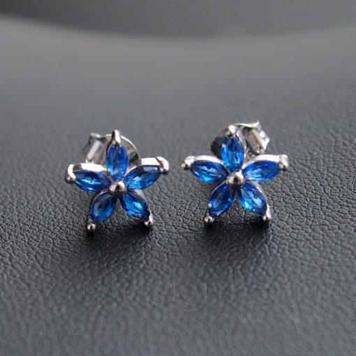5 szirmos cirkónia virág fülbevaló, Kék