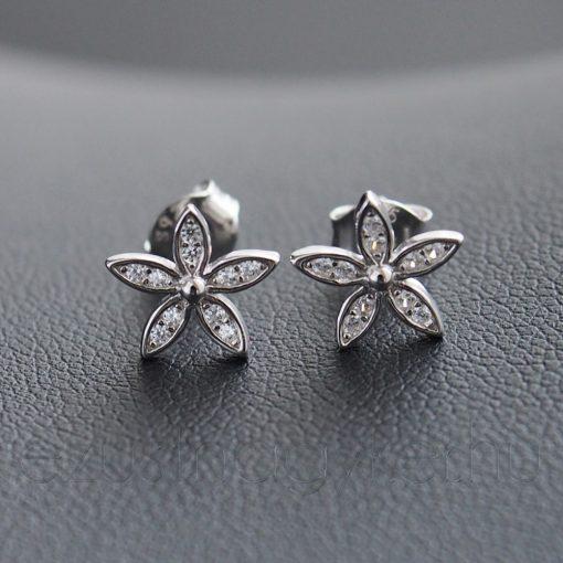 5 szirmos, apró köves cirkónia virág fülbevaló