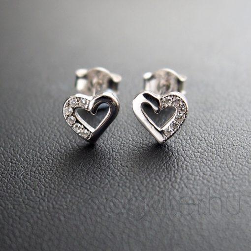 Szív cirkónia ezüst fülbevaló