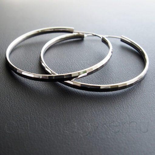 Lap mintás Karika fülbevaló - 3,5 vagy 4,5 cm