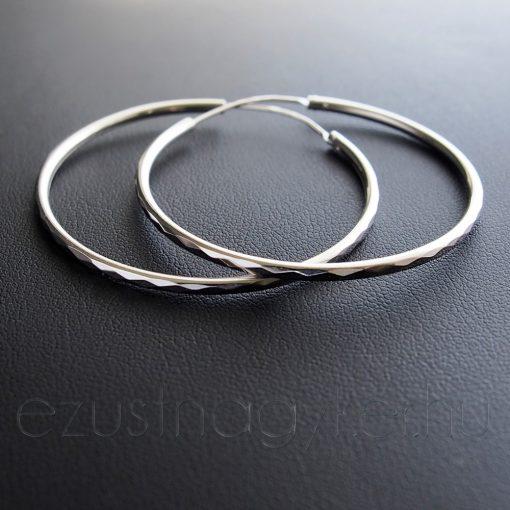 Cikk-Cakk mintás Karika fülbevaló - 3,5 vagy 4,5 cm vagy 5,5 cm
