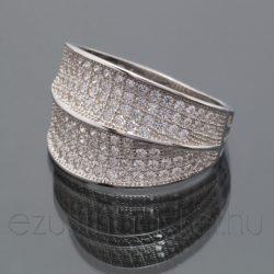 Cirkónia köves gyűrű 2x4 soros
