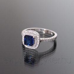 Ezüst gyűrű szögletes kék