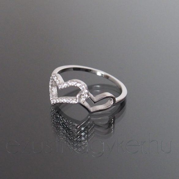 Ezüst gyűrű két szív