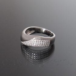 Ezüst gyűrű köves hullám