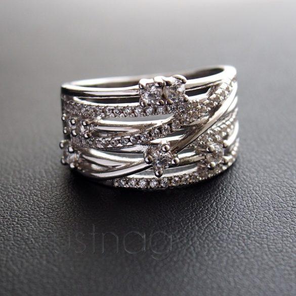 Cirkónia köves ezüst gyűrű 6+2 ággal