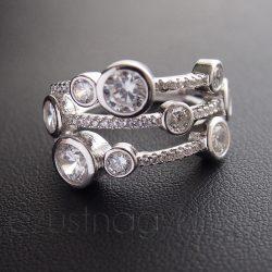 Cirkónia köves ezüst gyűrű 9 kör