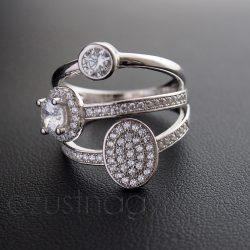 Cirkónia köves ezüst gyűrű három az egyben