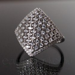 Cirkónia köves ezüst gyűrű rombusz