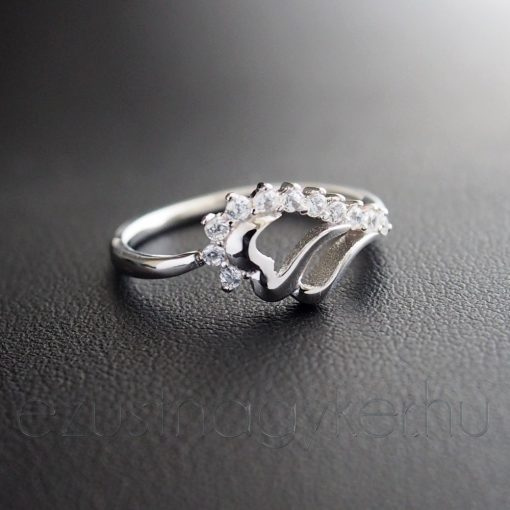 Cirkónia dupla szív gyűrű