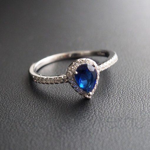 Kék cirkónia csepp Ezüst gyűrű