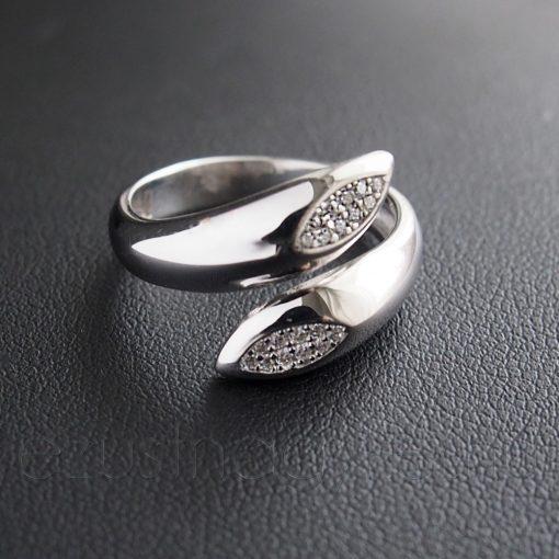 Két ágú cirkónia köves Ezsüt gyűrű