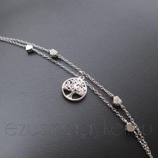 Két soros Színes Életfa ezüst Karkötő szívekkel