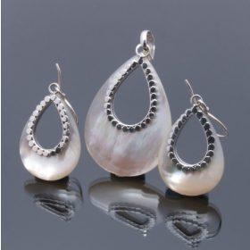 Gyöngy, Gyöngyház, Paua, Shiva ezüst garnitúrák