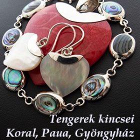 Tengerek kincsei - Korall, Paua, Gyüngyház ezüst ékszerek